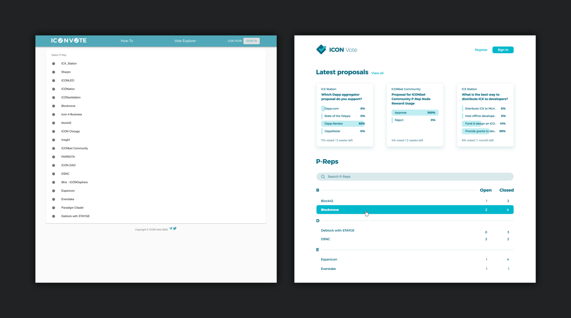 A comparison of the ICON Vote home page, before and after our redesign.
