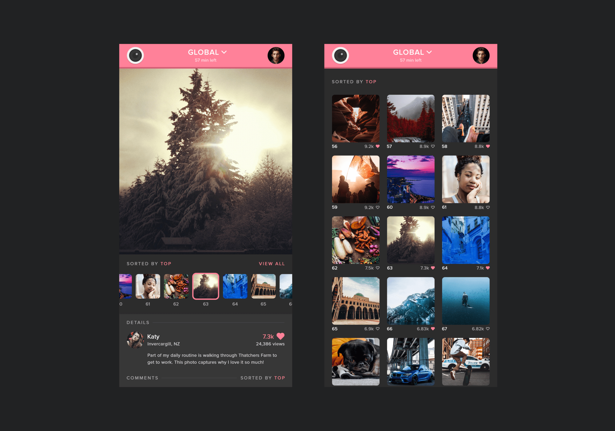 A preview of the TwentyFour interface, showing the photo and photo gallery pages.